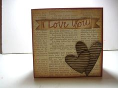 I love you card for him made with pattern paper, starbucks coffee sleeves for the hearts #etsy
