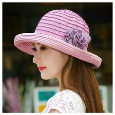 Elegance flower sun hats for women striped crimping beach summer hats