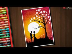 Valentine's Couple under love tree drawing with Oil Pastels – step by step Oil Pastel Drawings Easy, Oil Pastel Paintings, Oil Pastel Art, Unique Drawings, Easy Drawings, Love Drawings Couple, Drawing Sunset, Love Painting, Couple Painting