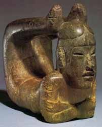 This Olmec Statue depicts a shaman in what is very similar to the Scorpion Asana of classical yoga. The Olmecs are older than the Mayans, and the most ancient civilisation discovered in Mexico.