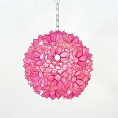 "Venus 15"" Pendant Chandelier in Hot Pink Translucent Capiz Shell by Worlds Away VENUS-P"