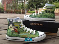 Anime Shoes Totoro Hand Paint On Converse by Zoehandpaintedshoes, $86.00