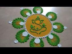 Quick and Easy Ganesha Rangoli Easy Rangoli Designs Diwali, Rangoli Simple, Indian Rangoli Designs, Rangoli Designs Latest, Simple Rangoli Designs Images, Latest Rangoli, Rangoli Designs Flower, Free Hand Rangoli Design, Small Rangoli Design