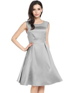 Gray O-Neck Sleeveless Mesh Patchwork A-Line Party Dress