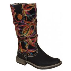 d1bc1f1749f58 These ladies Rieker Thread are western-inspired mid-calf boots, with a  slouched upper wrapped in a woven multicoloured wool design and finished  with ...
