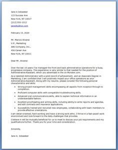 Email cover letter administrative assistant sample
