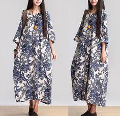 Cotton Linen Loose Fitting Long Maxi Dress Short Sleeve Summer Dresses