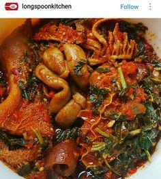 African Stew, West African Food, Healthy Diet Recipes, Beef Recipes, Real Food Recipes, African Spinach Recipe, Nigerian Soup Recipe, Nigeria Food, Man Food