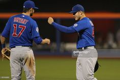 Kris Bryant, (left), and Anthony Rizzo, Chicago Cubs, celebrate their sides 1-0 win during the New York Mets Vs Chicago Cubs MLB regular season baseball game at Citi Field, Queens, New York. USA. 14th April 2015. Photo Tim Clayton