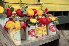 seaside/funfair themed wedding stationary tin can vases by Dottie Creations http://www.dottiecreations.com/QUIRKY_460045.html