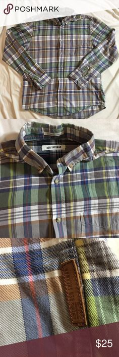 """Men's Ben Sherman Iconic Madras Shirt GUC Men's Ben Sherman iconic madras shirt.  Modern slim fit.  Tailored details in back.  Size M  Measures 21"""" pit to pit. Sleeves are 25"""" from shoulder. Length is 27"""". Neck approx 15"""" Ben Sherman Shirts Casual Button Down Shirts"""
