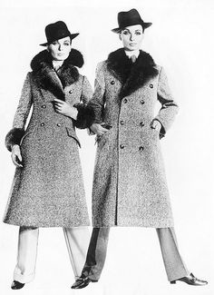 Model in two versions of tweed coat with fur collar, photo by Erwin Blumenfeld for Dayton's Oval Room, Minneapolis, Minnesota, 1961