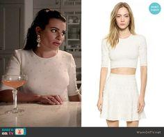 Hester's white polka dot crop top and skirt set on Scream Queens.  Outfit Details: http://wornontv.net/53584/ #ScreamQueens