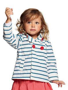 Chubasquero marinero impermeable niña 2 a 8 años BLANCO CLARO A RAYAS