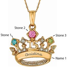 10kt Yellow Gold Tiara 2 Necklace Simulated Stones | Joy Jewelers