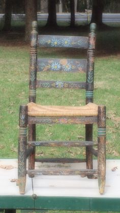 Colonial Period, Ladder Back, Jacobean Inspired, Local Wood, Woven Seat,  Chip