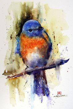Bluebird Painting Elegant Eastern Bluebird Watercolor Bird Art Print by Dean Crouser