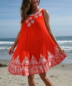 Another great find on #zulily! Orange & White Floral Shift Dress by Ananda's Collection #zulilyfinds