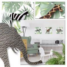 Een leuke set van 3 jungledieren muurstickers. De olifant, zebra en giraf hebben een echte vacht look. De botanische / jungle stijl past perfect op de babykamer van nu!