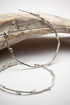 Elvish twig hoop earrings sterling silver  organic by redsofa