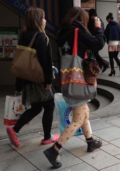 and more #japanfashion printed tattooed #skincolortights spotted today in #harajuku