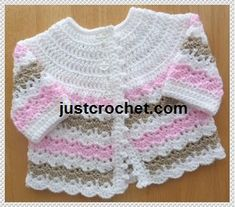 Free crochet pattern for Pretty coat http://www.justcrochet.com/justcrochet-site8_057.htm #justcrochet #freecrochetpatterns