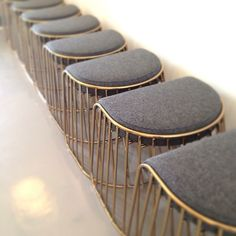 @SoudaBrooklyn / phasedesign: Brides Veil low stools ready for action for Hotel Monaco Philadelphia @kimptonhotels #brass