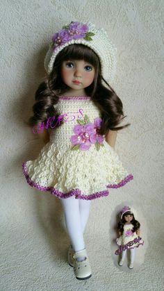 Crochet Doll Dress, Crochet Doll Clothes, Crochet Doll Pattern, Knitted Dolls, Pretty Dolls, Beautiful Dolls, Girl Dolls, Baby Dolls, American Girl Crochet