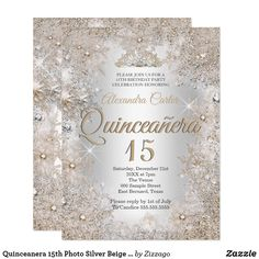 Shop Quinceanera Photo Silver Beige Snowflake Invitation created by Zizzago. Personalize it with photos & text or purchase as is! Bachelorette Party Invitations, Quinceanera Invitations, Birthday Party Invitations, Baby Shower Invitations, Custom Invitations, Invites, Glitter Birthday Parties, Birthday Party Celebration, 50th Birthday Party