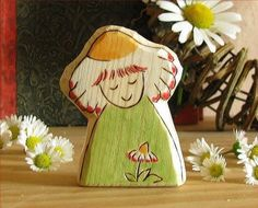 DREAMY DAISY FAIRY  natural carved wooden toy summer by Rjabinnik, $8.00