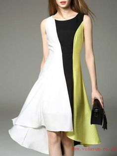649834f00f3 Plus Size Casual Color-block Sleeveless Midi Dress