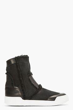 Balmain Black Suede & Leather Shearling-lined Biker Boots for men | SSENSE