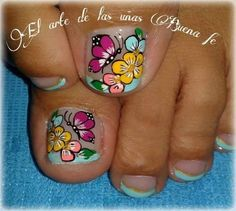 French Pedicure, Pedicure Nail Art, Pedicure Designs, Toe Nail Designs, Toe Nail Art, Easy Nail Art, Cute Toe Nails, Diy Nails, Butterfly Nail Designs