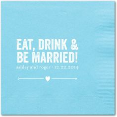 Married Fun - Personalized Wedding Napkins in Aqua Napkin or Mocha Napkin | simplyput by Ashley Woodman