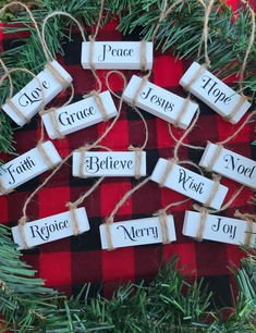 Excited to share this item from my shop: Farmhouse Christmas Ornaments Rustic Christmas Ornaments, Wooden Christmas Trees, Christmas Signs, Christmas Diy, Christmas Projects, Dollar Tree Christmas, Ideas For Christmas, Rustic Christmas Decorations, Hanger Christmas Tree
