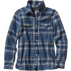 Patagonia Fjord Flannel Shirt - Long-Sleeve ($89) ❤ liked on Polyvore featuring tops, blue shirt, shirt tops, flannel shirts, long sleeve flannel shirts and long sleeve shirts