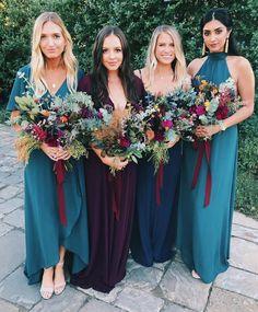 The prettiest mix of Deep Jade, Merlot, + Navy bridesmaids dresses Teal Bridesmaid Dresses, Navy Bridesmaid Dresses, Boho Bridesmaids, Bridesmaid Color, Mumu Wedding, Wedding Gowns, Wedding Album, Wedding Book, Wedding Outfits