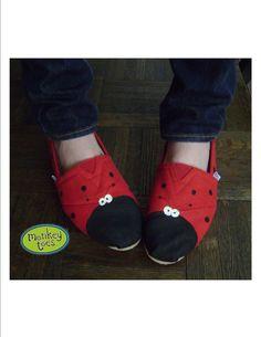 Women's Custom Hand Painted Ladybug TOMS shoes on Etsy