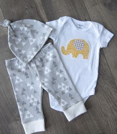Baby Outfit // Newborn Outfit Boy, Newborn Outfit Girl, Coming Home Outfit, Baby Boy, Baby Girl // Gray Triangles, Yellow Elephant by GingerLous on Etsy https://www.etsy.com/listing/179517601/baby-outfit-newborn-outfit-boy-newborn