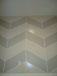 Awesome chevron stripes painted wall--DIY