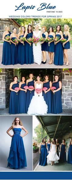 lapis blue pantone color ideas for 2017 bridesmaid dresses