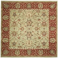 This beautiful Handmade Knotted Square rug is approximately 9 x 10 New Contemporary area rug from our large collection of handmade area rugs with Persian Sultanabad style from India with Wool