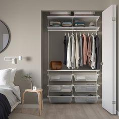 Ikea Closet Organizer, Small Closet Organization, Ikea Closet System, Ikea Closet Storage, Ikea Closet Hack, Closet Storage Systems, Organizing Ideas, Wardrobe Shelving, Closet Shelves