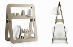Make doing the dishes a little more pleasant with this dish rack by Ernest Perera. Aurea is a stylish, ingeniously space saving dish rack. Aurea won the Maison & Objets and Elle Décor… Intelligent Design, Modern Dish Racks, Scarf Storage, Bamboo Box, Dish Drainers, Rack Design, Tiny Spaces, Tiny Living, Compact Living