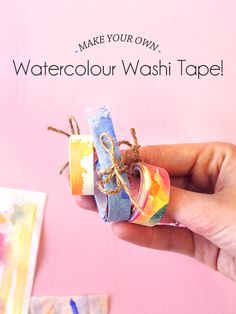 Watercolour Washi Tape on Paper & Pin!DIY Watercolour Washi Tape on Paper & Pin! Washi Tape Cards, Washi Tape Diy, Masking Tape, Paper Pin, Diy Paper, Tissue Paper, Paper Tape, Tape Crafts, Fun Crafts