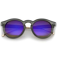 Retro P3 Round Horned Rim Mirrored Lens Sunglasses A772