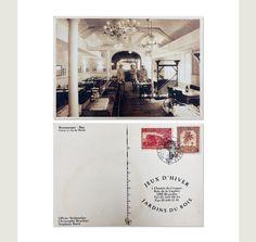 1996 - Carte de visite du nouveau restaurant des Jeux d'Hiver. Design: C. Brochier Invitation, Restaurant, Tote Bag, Design, Winter Games, Carte De Visite, Gaming, Diner Restaurant