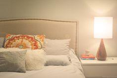 pillows w/ pattern. Triple Max Tons: DIY Nailhead Trim Headboard