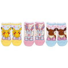 Pokemon Center original short socks three pairs of sets, Pikachu,... (94 MYR) ❤ liked on Polyvore featuring intimates, hosiery, socks, pokemon, short socks, ankle socks and tennis socks
