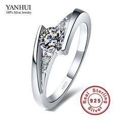 Envían certificado de plata! 100% puro de ley 925 anillo de plata de lujo 0.75 quilates CZ anillos de bodas de diamante para para JZR004